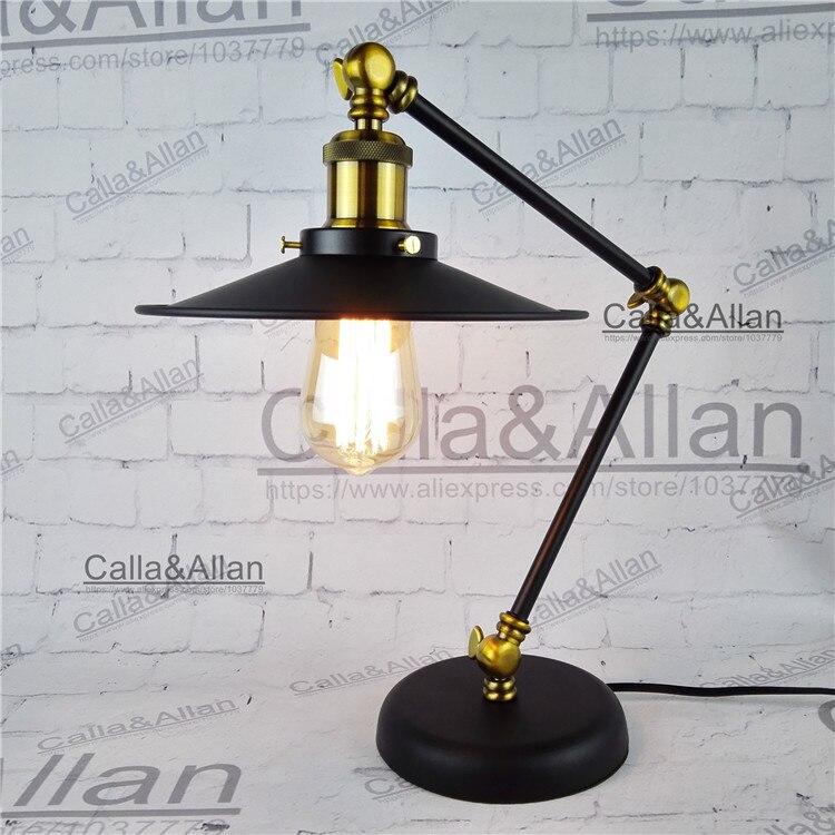 Бесплатная доставка с Edison лампы 60 Вт собранный черный гладить Таблица освещения с выключателем и вилка ul/ce рядом лампы для отеля Декор