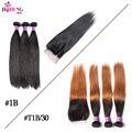 Big Discount 8A Silk Straight Brazilian Virgin Hair Blonde Bundles With Closure 1B 30 Ombre Closure Brazilian Hair With Bundles