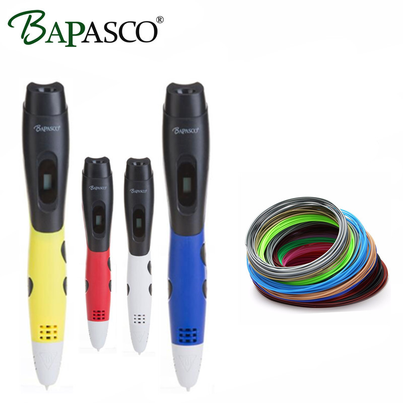Hot Sale 3D Pen Original BAPASCO 3D Printing Pen Add Free ABS/PLA Filaments USB 5V/2A 3D Magic Pen For Kids Intellignet Drawing
