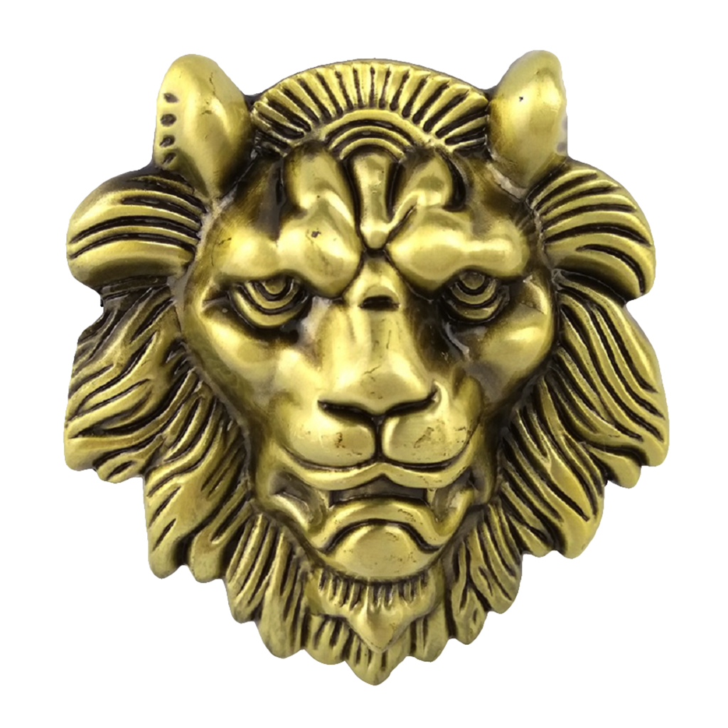 Vintage Gold 3D Wild Lion Head Belt Buckle Western Cowboy Men's Clothing Accessories Fashion Jeans Buckle For Boys Men