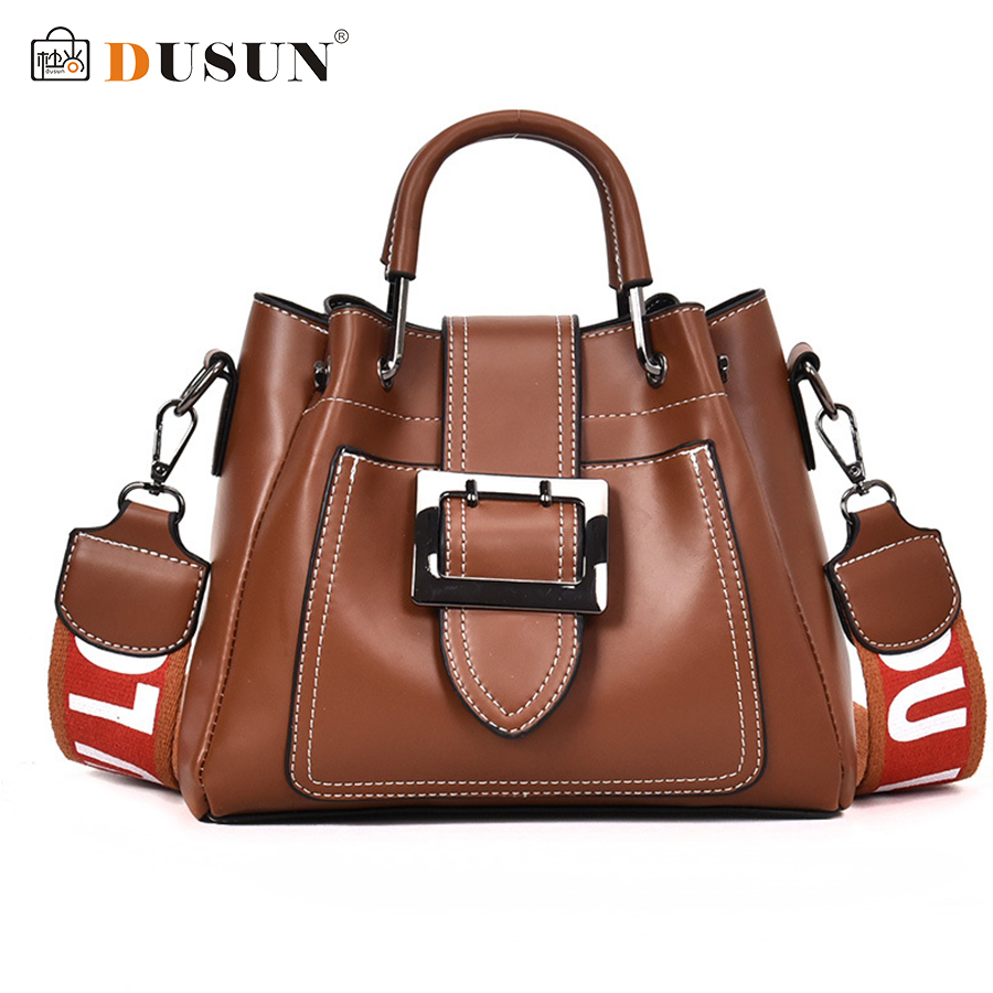 DUSUN Brand Handbags Women Vintage Messernger Bags Ladies Wide Strap Shoulder Bag Woman High Capacity Crossbody Bolsa Feminina