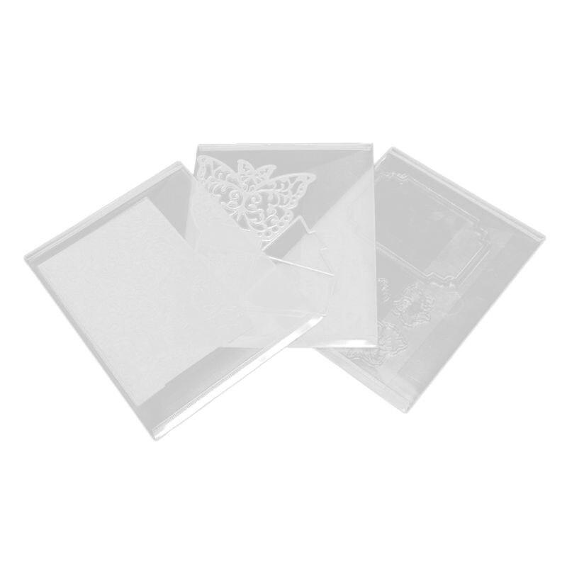 3pcs/set Resealable Transparent Plastic Storage Case Bag For Cutting Dies Stencil Album Stamp Crafts