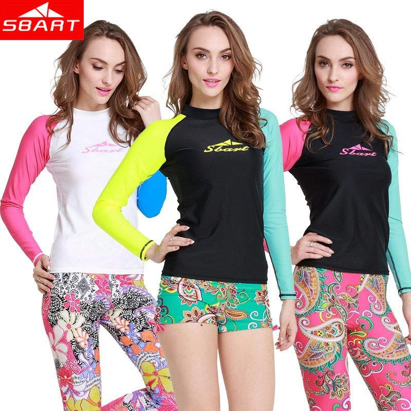 SBART Women Rash Guard New 2016 Long Sleeve Rashguard Swim Shirts Surf T Shirt Womens Rash Guards Swimwear Pants Lycra Upf50 J rashguard mergulho rashguard a808