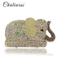 Ручной работы животного 3D слон Форма Золотой Кристалл Для женщин вечерняя сумочка и кошелек металлический для свадьбы и выпускного Minaudiere к