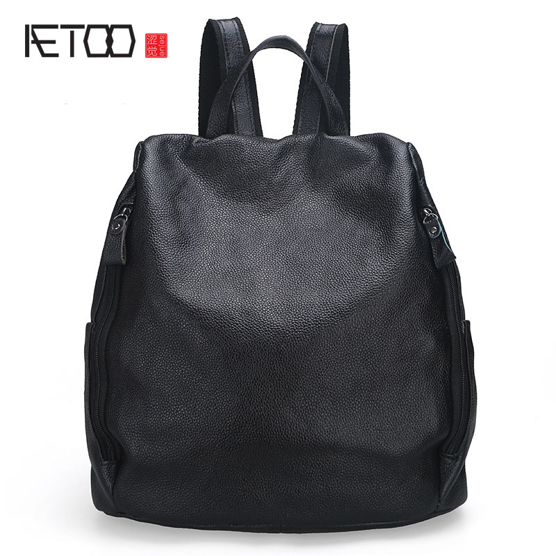 The new fashion leisure ladies leather shoulder bag layer of leather backpack 100 genuine leather real