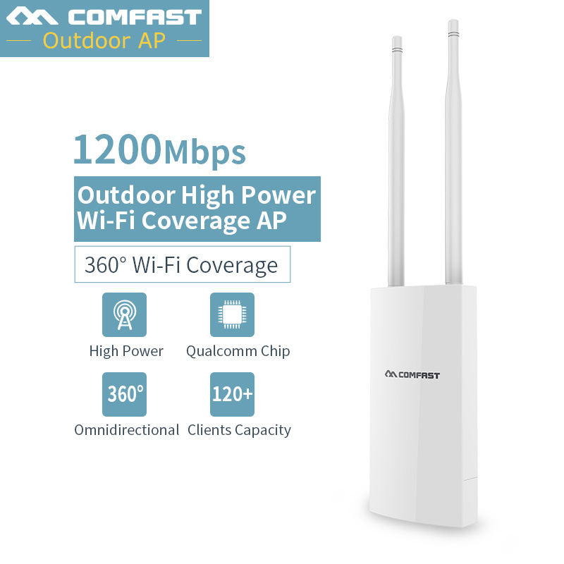 1200Mbps Dual Band 2.4G&5.8G & 300Mbps 2*5 dbi Antenna Repeater WiFi Outdoor CPE AP Router Long Range Wireless PoE Access Point