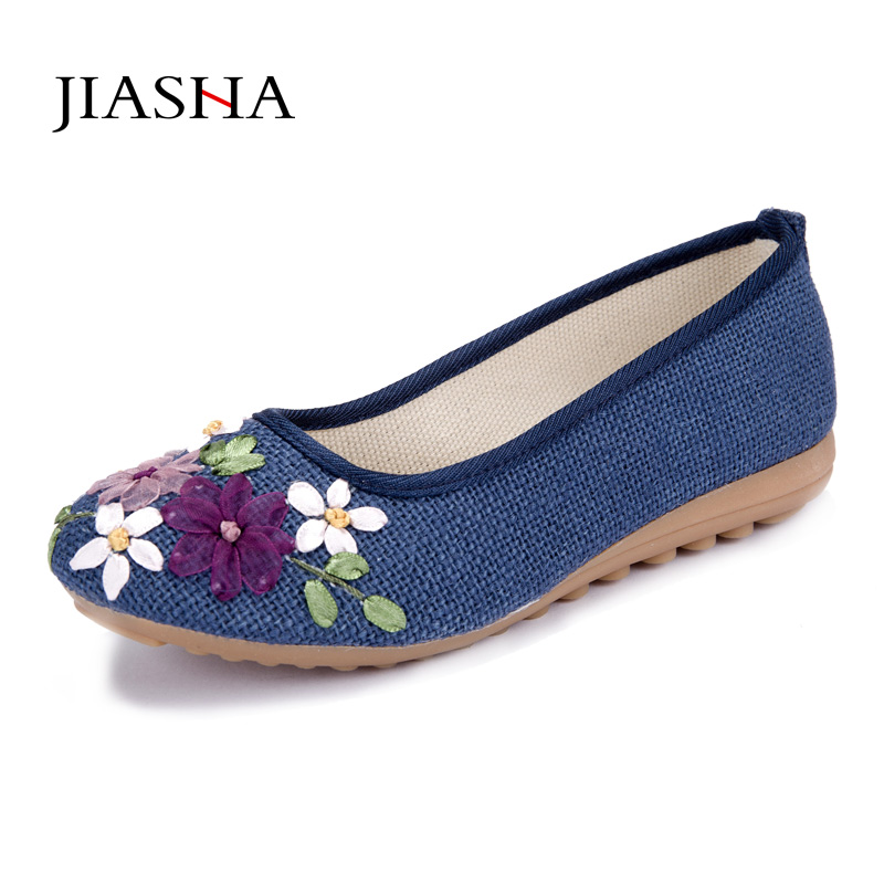 Comfortable Round Toe Student Flat Shoes Woman 2017 New Women Flower Casual Shoes Cotton Fabric women casual flat shoes 2016 summer new breathable shoes comfortable flat shoes student