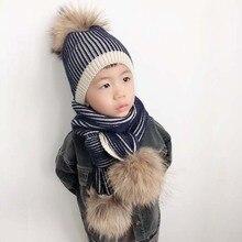 2019 Jongen Meisje Winter Beanie Kids Grote Echt Bont Pompom Hoed en Sjaal Set Voor Kinderen Winter Warm Gebreide Cap skullies
