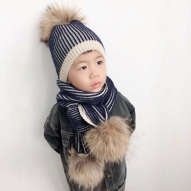 Gorro de invierno 2019 para niño y niña, gorro con pompón y bufanda grande de piel Real para niños, gorro tejido cálido para invierno