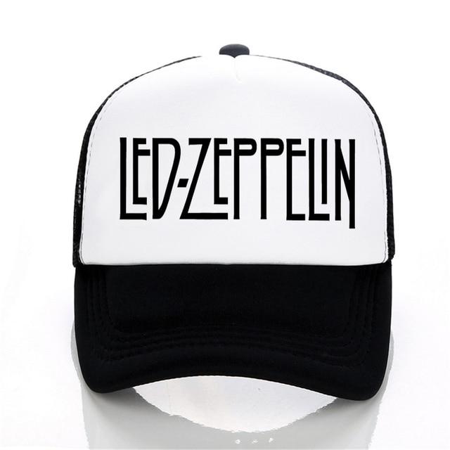 f18bfc41465 Men women summer casual mesh cap Led Zeppelin Rock Band Baseball caps  fashion rock letter adjustable unisex trucker caps hat