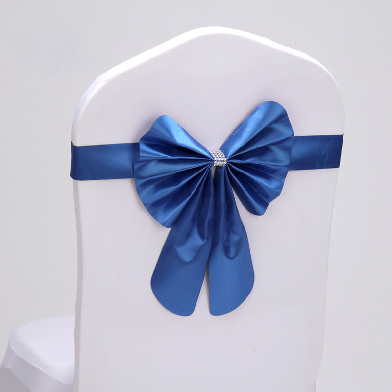 Hot 100pcs lot 16 color Wedding Party Decorative Bow Tie Buckle Hotel Banquet Polyester PU Chair