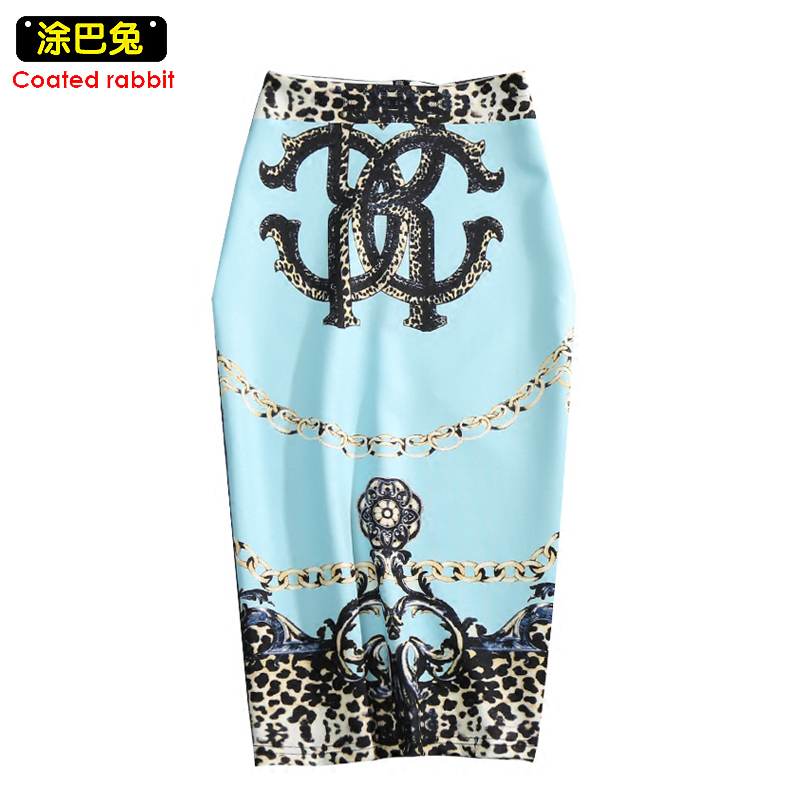 CR Women Pencil Skirt Gemetroc Printed Fashion High Waist Elasticity Slim Office Lady Skirts M-2XL Choose Summer Cool Breathable