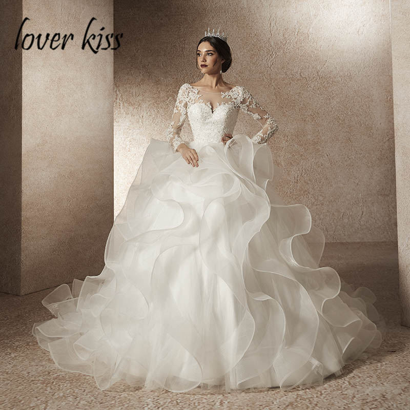Lover Kiss robe de mariee 2019 Ruffled Long Sleeve Modest Wedding Dress Lace Beaded Bridal Gowns