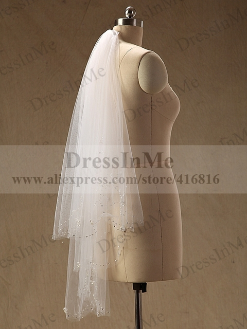Ivory Two Layers Wedding Veil with Hand Beaded Pearls Bling Bridal Veil with Comb