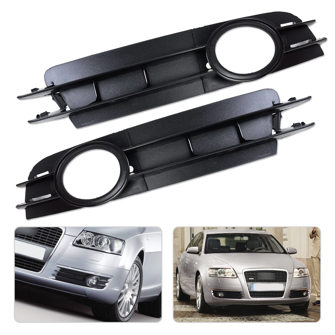 DWCX 2x Front Fog Light Lamp Grill Grille for <font><b>Audi</b></font> <font><b>A6</b></font> and <font><b>A6</b></font> Quattro C6 2005 <font><b>2006</b></font> 2007 2008 4F0807681A 4F0807682A image