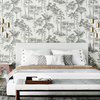 Nordic Wallpaper Black Grey Tropical Rain Forest Bedroom Living Room Restaurant Background TV Palm Leaf Non woven Wallpaper
