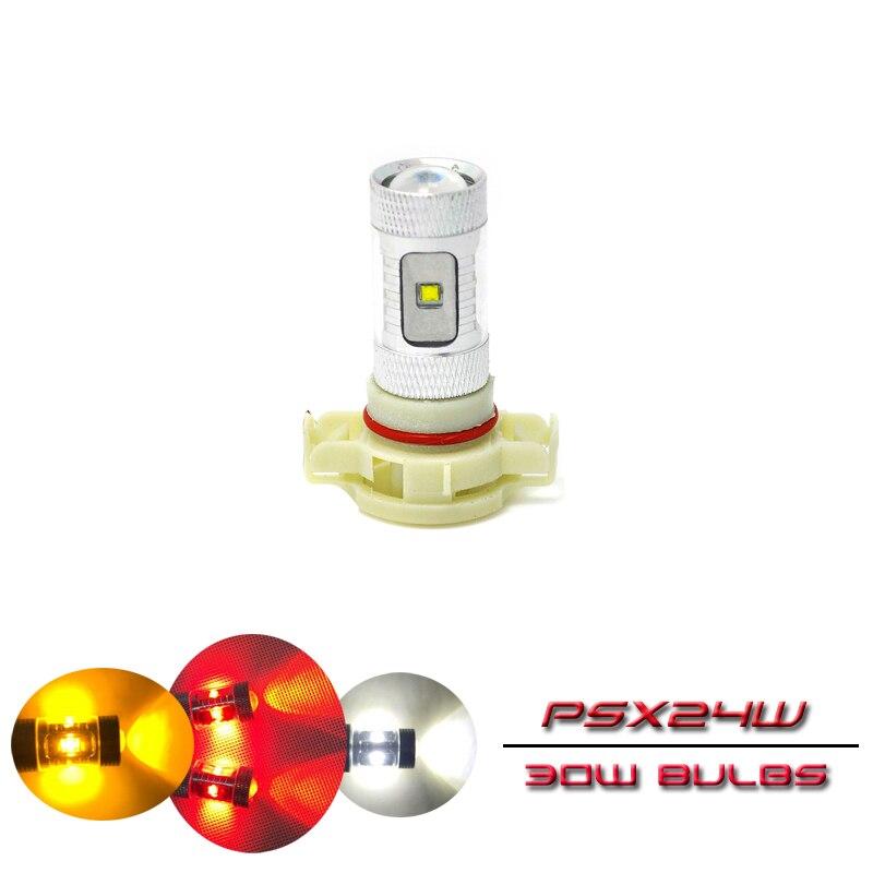 Bombillas de luz Led de alta potencia para correr, repuesto directo, PSX24W, 12276, 2504, PG20-7, 30W, Color blanco, rojo y ámbar