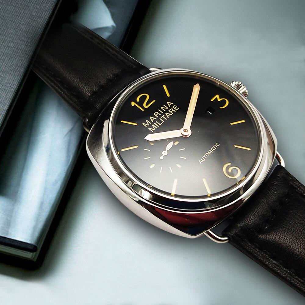 Corgeut armbanduhr 47mm stahl silber fall UHR PAM militärische automatische männer UHR LEDERBAND SCHWARZ ZIFFERBLATT W2
