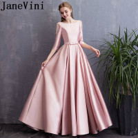 JaneVini Blush Pink Satin Long Bridesmaid Dresses With Pockets A Line 3/4 Sleeves Pearls Beaded Floor Length Formal Party Gowns