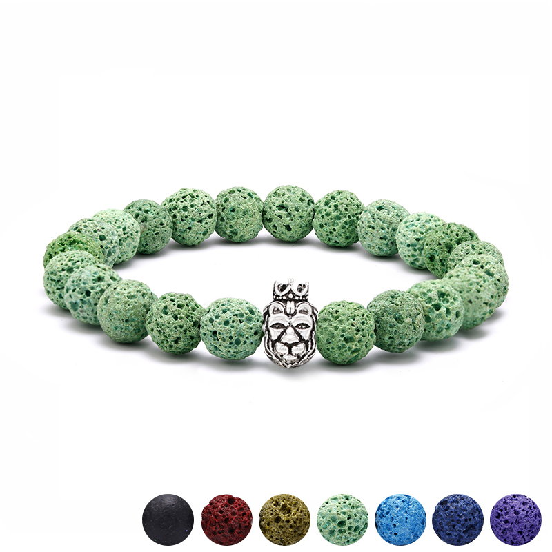 Newest Animal Shaped Strand Bracelets for Women Men Lion Head With Crown Charms Bracelets Lava Stone Beaded Bracelet Jewelry