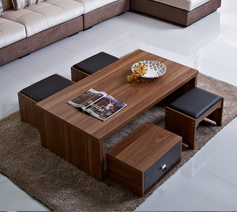 modern minimalist wood coffee table with black tape pumped storage stool coffee tablein coffee tables from furniture on