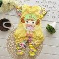 NEW 2015 summer style baby girls clothing set new fashion cotton roupas infantis menina Short-sleeved 2 sets children's clothing