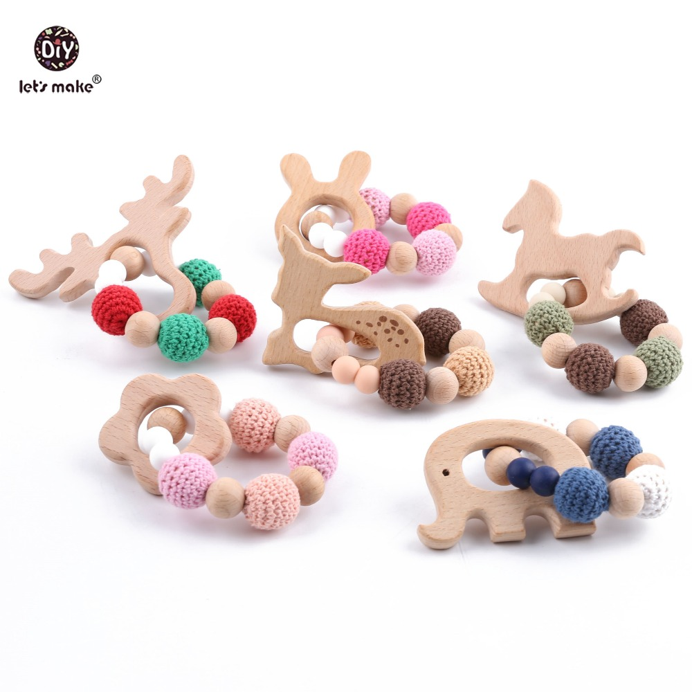 Let's Make Wood Teether Bracelet 1pc Food Grade Beech Animal Wooden Sika Deer Crochet Beads DIY Jewelry Teething Accessories Toy