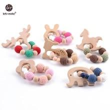 Lets make Wood Teether Bracelet 1pc Food Grade Beech Animal Wooden Sika Deer Crochet Beads DIY Jewelry Teething Accessories Toy