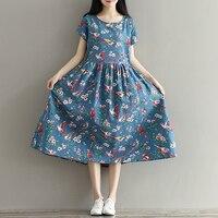 Women Summer Dress Mori Girl Short Sleeve Floral Print A Line Dress Blue Color High Waist School Cotton Linen Dress