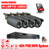 NINIVISION 48V 4 Channel PoE Kit HD 1080P 4CH NVR POE IP Network 2MP Outdoor Cameras