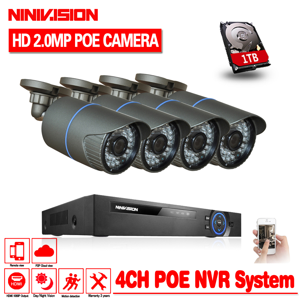 NINIVISION 48V 4 Channel PoE Kit HD 1080P 4CH NVR POE IP Network 2MP Outdoor Cameras Home Security System 1TB HDD