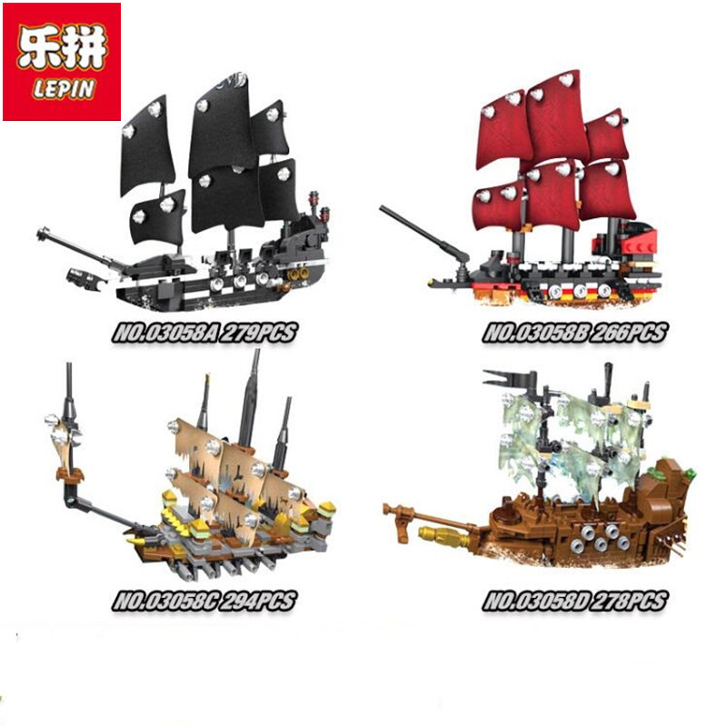 Model building kits compatible with lego Pirates of the Caribbean Movie 4 In 1 Black Pearl Queen Anne's Reveage Slient Mary Ship compatible with lego 4195 models building toy 39008 1222pcs queen anne s revenge pirates of caribbean building blocks