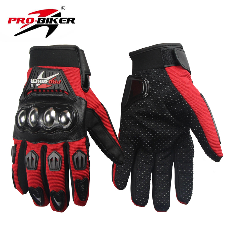 PRO-BIKER Motorcycle Riding Gloves Breathable Motocross Off-Road Racing Moto Full Finger Gloves with Stainlesssteel Injection pro biker mcs 04 motorcycle racing half finger protective gloves red black size m pair