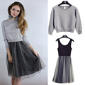 Autumn College Wind knit sweater dress two-piece dress Girls long paragraph gauze tutu