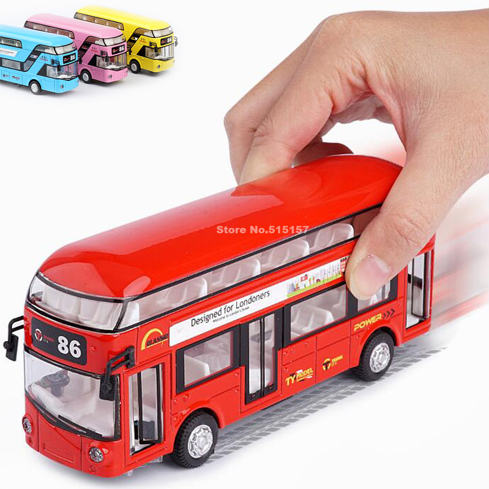 Diecast London Bus Double Decker Bus Light & Music Open Door Design Metal Alloy Bus Design For Londoners Toys For Children(China)