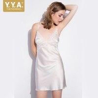 High Quality Luxury Woman Nighties Silk Suspender Women Nightwear Sexy Deep V Neck Nightgown Slim Lace Backless Sleepwear Dress