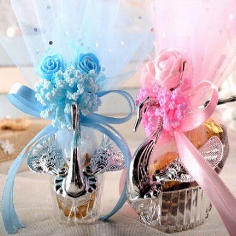 100 pcs 유럽 스타일 아크릴 실버 우아한 백조 사탕 상자 결혼 선물 호의 파티 초콜릿 상자 + 전체 액세서리-에서선물가방&포장용품부터 홈 & 가든 의  그룹 1