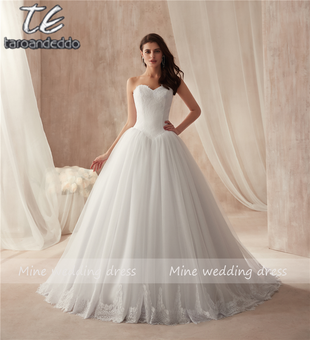 Simple Style Ball Gowns Wedding Dress Puffy Bridal Dress with Delicate France Lace Wedding Gown vestido