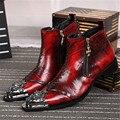 Complicados vermelho Homens de Couro do Tornozelo Botas de Metal Do Dedo Do Pé Apontado Vestido De Casamento Dos Homens Rebite Sapatos de Alta Top Botas Hombre Botas de Cowboy
