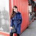 2016 Мода Зимнее Пальто Для Женщин Лонг Сгущает Шерсть Кашемир Куртка однобортный Пальто С Поясной Ремень Peacoat Плюс размер