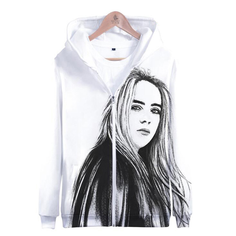 Winter Jacket Women KPOP Billie Eilish 3D Printed Thicken Zipper Hooded Sweatshirt Outwear Warm Coat Tumblr Clothing Streetwear