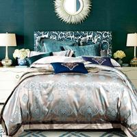 4pcs Mulberry Luxury Silk Bed Linen Jacquard BLUE Silk Bedding Sets Damask Duvet Cover Queen
