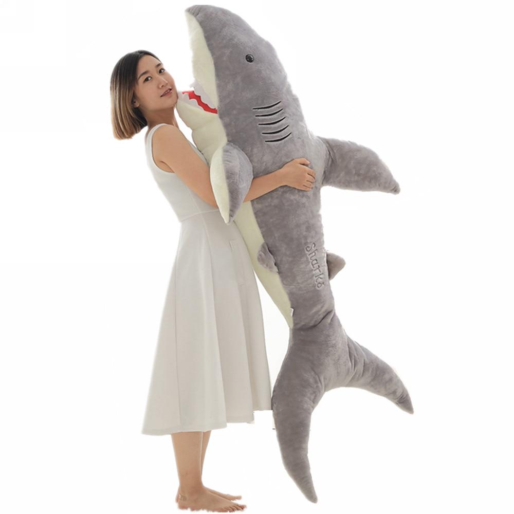 Fancytrader 71 ''énorme requin doux jouets en peluche géant peluche morsure requins enfants jouer poupée amant cadeau 2 couleurs 3 tailles 180 cm