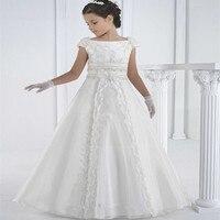 Wedding Dress For Girls Elegant Beautiful Diomand Children Bride Dress Party Dress Little Girls Tulle Lace