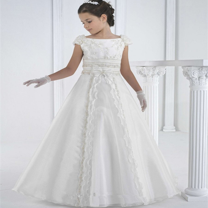 Wedding Dress For Girls Elegant Beautiful Diomand Children Bride Dress Party Dress Little Girls Tulle Lace Wedding Dress Kids