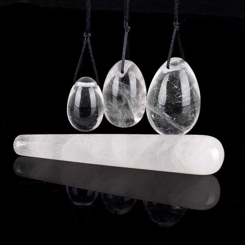 Natural Rock Quartz Crystal Massage Wand Jade Yoni Eggs For Women Kegel Exercise Pelvic Floor Vaginal Muscle Tighten Exerciser
