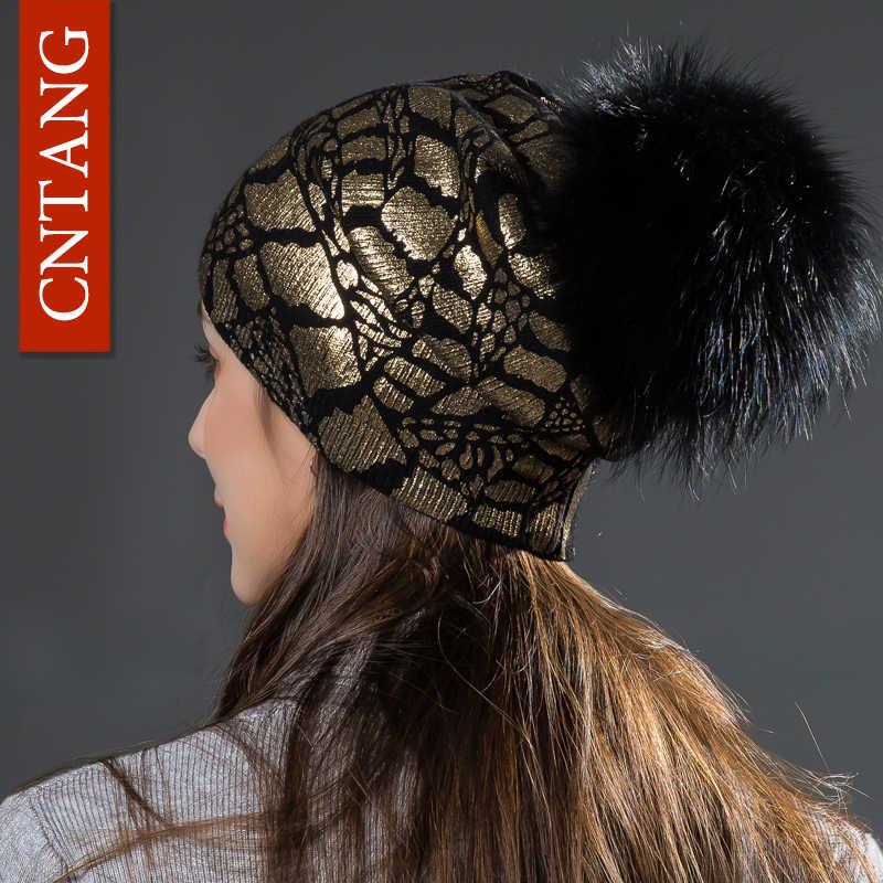 CNTANG 2018 Mulheres Moda Bronzing Malha Chapéus De Lã Dupla Camada de Inverno Quente Caps Gorros Com Pompom Chapéu De Pele Real Para senhoras
