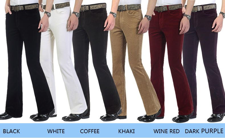 Free Shipping High Quality 2019 New Men's Spring Corduroy Flares Pants Mid Waist Smart Casual Bootcut Trousers Plus Size 27-38 102