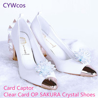 Anime Card Captor KINOMOTO SAKURA Clear Card OP Cosplay Shoes Women Shoes Angel SAKURA Shoes Princess Lady Crystal Shoes