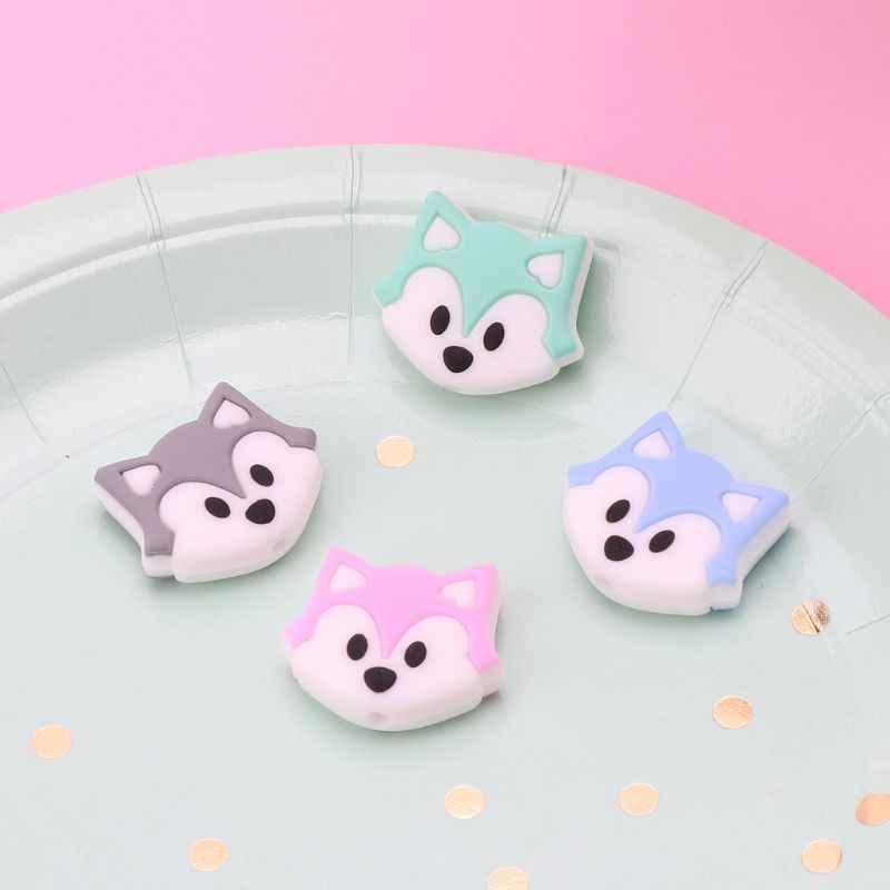 Fox Bayi Tumbuh Gigi Manik-manik Kartun Silikon Manik-manik Kalung BPA Free Teether Mainan Aksesoris Perawatan DIY